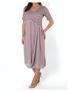 Scallop Lace Chiffon Drape Dress