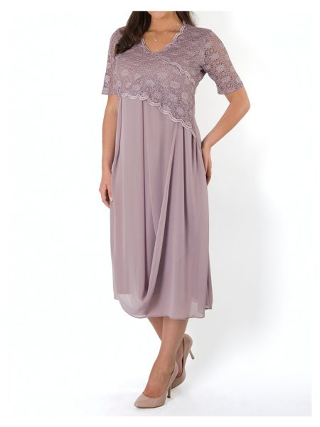 Chesca Plus Size Scallop Lace Chiffon Drape Dress