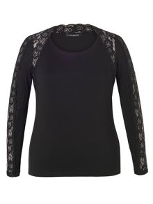 Chesca Lace Trim Long Sleeve T-Shirt