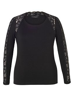 Lace Trim Long Sleeve T-Shirt
