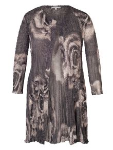 Chesca Rose Print Crush Pleat Long Shrug