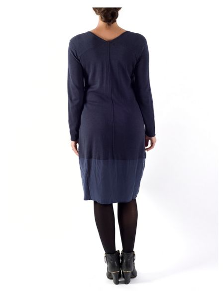Chesca Plus Size Jersey Dress with Cupro Trim