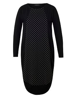 Plus Size Dot Jacquard Jersey Dress