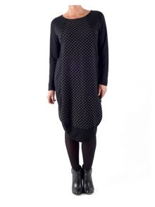Chesca Plus Size Dot Jacquard Jersey Dress
