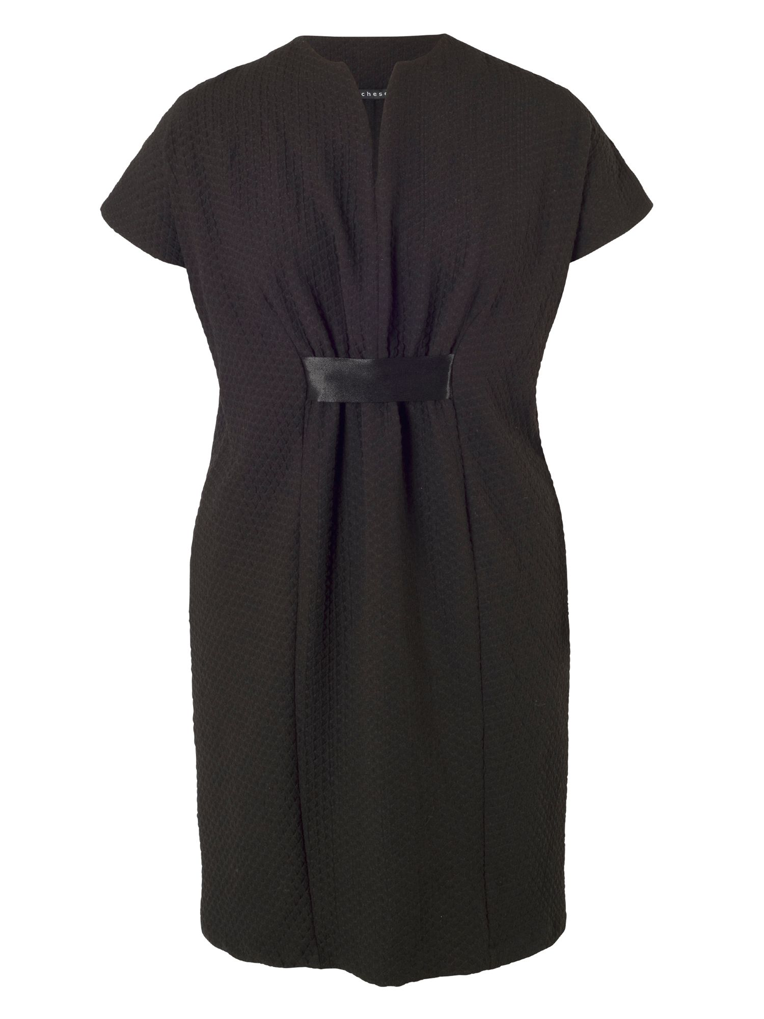 Chesca Pique Jersey Belted Dress, Black
