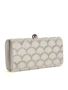 20s Inspired Silver & Pearl Clutch Bag