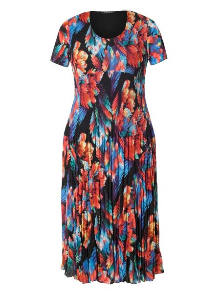 Chesca Plus Size Abstract Leaf Print Crush Pleat Dress