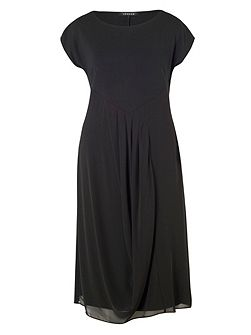 Pleat Trim Jersey/Chiffon Dress