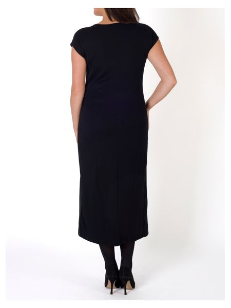 Chesca Pleat Trim Jersey/Chiffon Dress