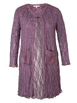 Crush Pleat Lace Coat with Satin Trim