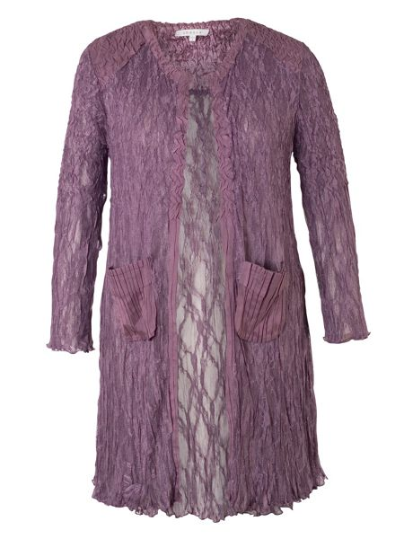 Chesca Crush Pleat Lace Coat with Satin Trim