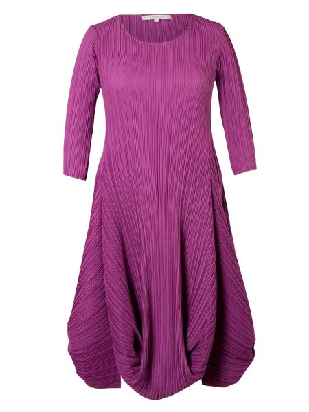 Chesca Plus Size Crush Pleat Matt Crepe Drape Hem Dress