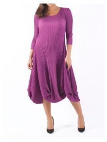 Plus Size Crush Pleat Matt Crepe Drape Hem Dress