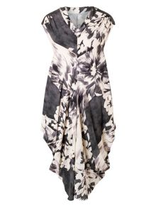 Plus Size Abstract Floral Print Drape Dress