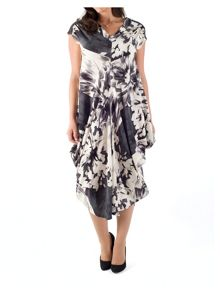 Abstract Floral Print Drape Dress