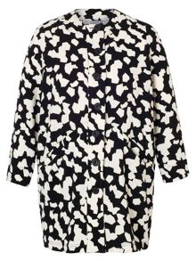 Chesca Abstract Jigsaw Print Coat