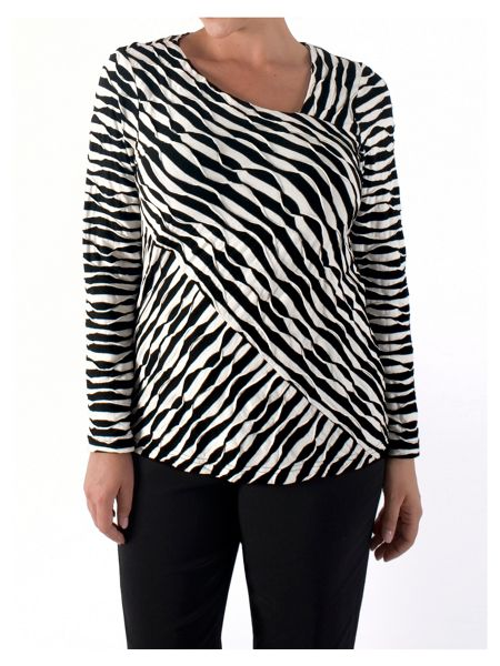 Chesca Wavy Stripe Asymmetric Top