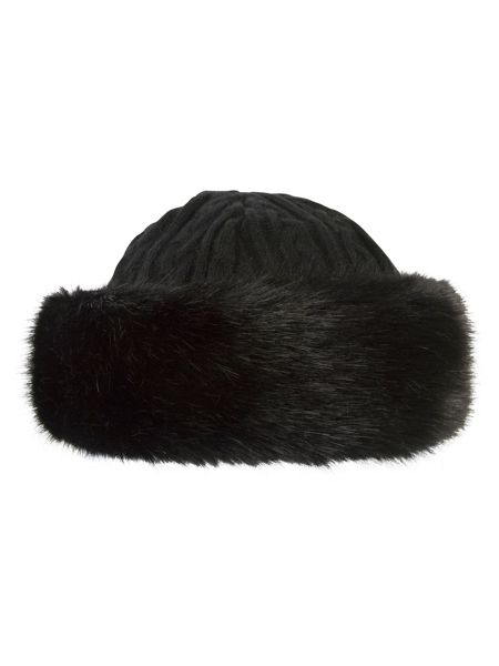 Chesca Cable Knit Hat with Fur Trim