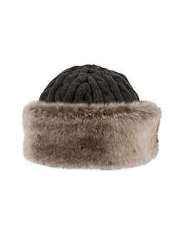 Cable Knit Hat with Fur Trim