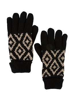 Knitted Aztec Jacquard Glove
