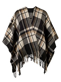 Oversized Check Wrap with Tassels