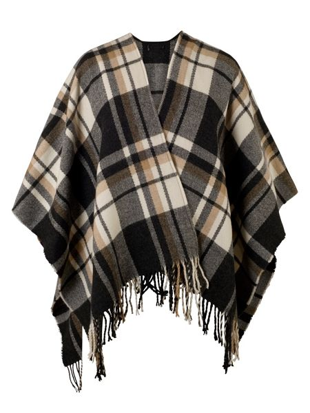 Chesca Oversized Check Wrap with Tassels