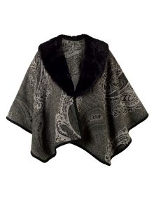 Chesca Paisley Jacquard Wrap with Fur Collar