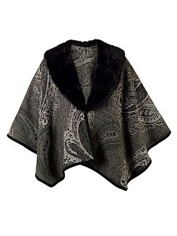 Paisley Jacquard Wrap with Fur Collar
