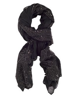 Large Voile Sequin Panel Scarf