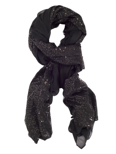 Chesca Large Voile Sequin Panel Scarf