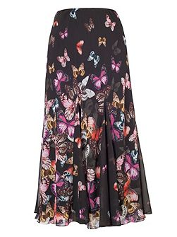 Butterfly Print Border Skirt