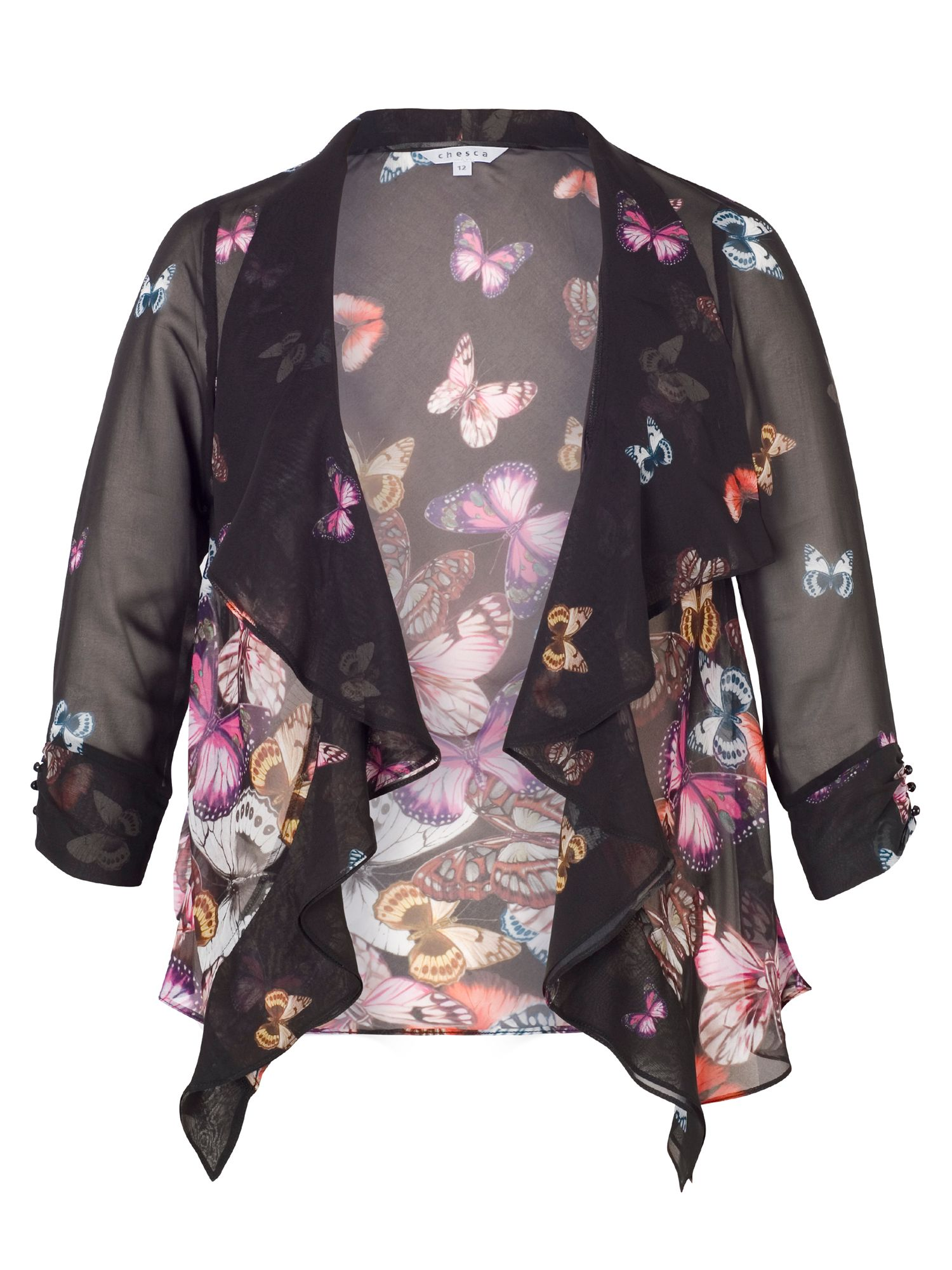 Chesca Butterfly Print Border Shrug, Black
