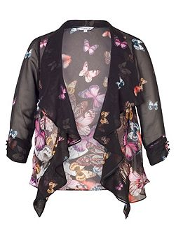 Butterfly Print Border Shrug