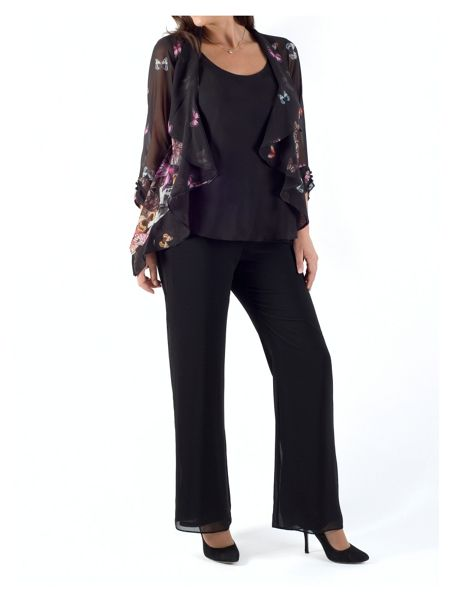 Chesca Butterfly Print Border Shrug