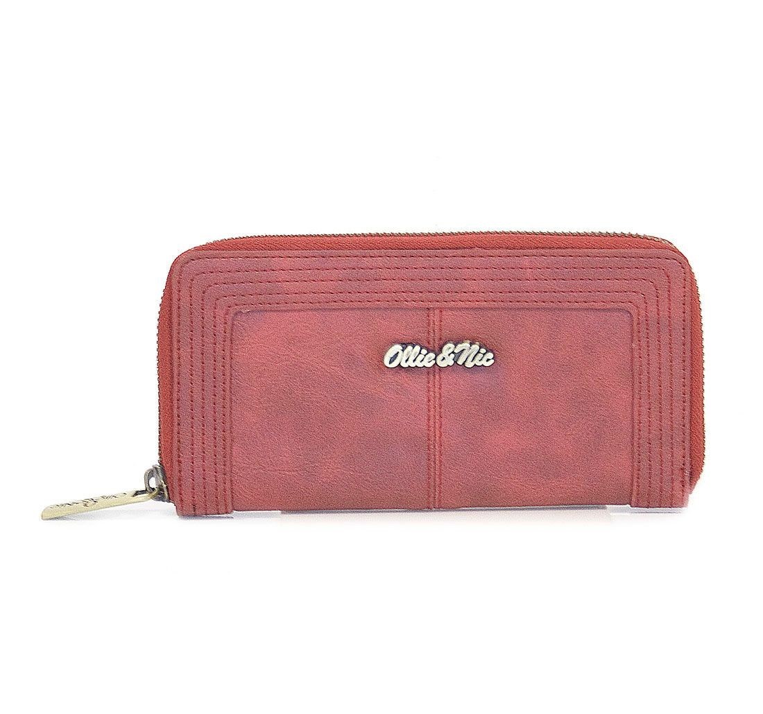 Patty Zip Around Contrast Stitch Purse