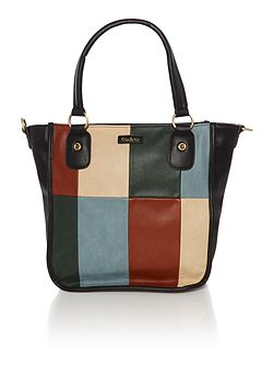 India black multi patch tote bag