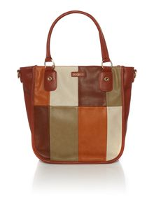 Ollie & Nic India tan multi patch tote bag