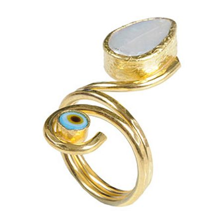 JCM London Gold plated on brass rings with evil eyes