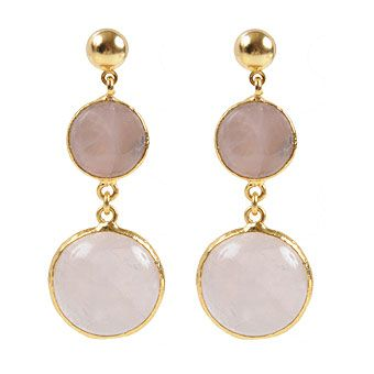 Rose Quartz Stone Brass Earrings