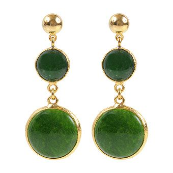 Jade Stone Brass Earrings