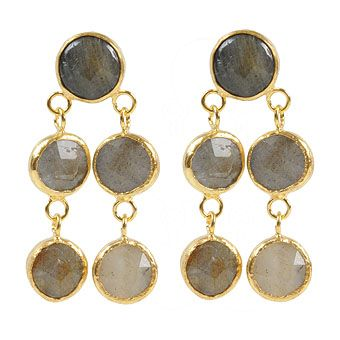 Labradorite Stone Brass Earrings