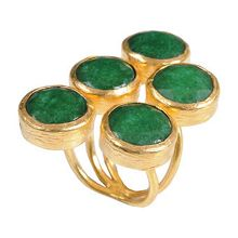 Gold plated on bronze 5 stone  rings