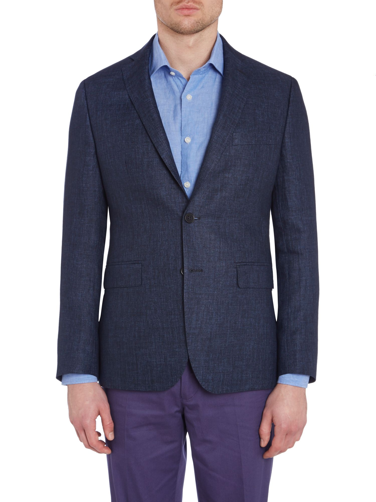 Contemporary herringbone linen jacket
