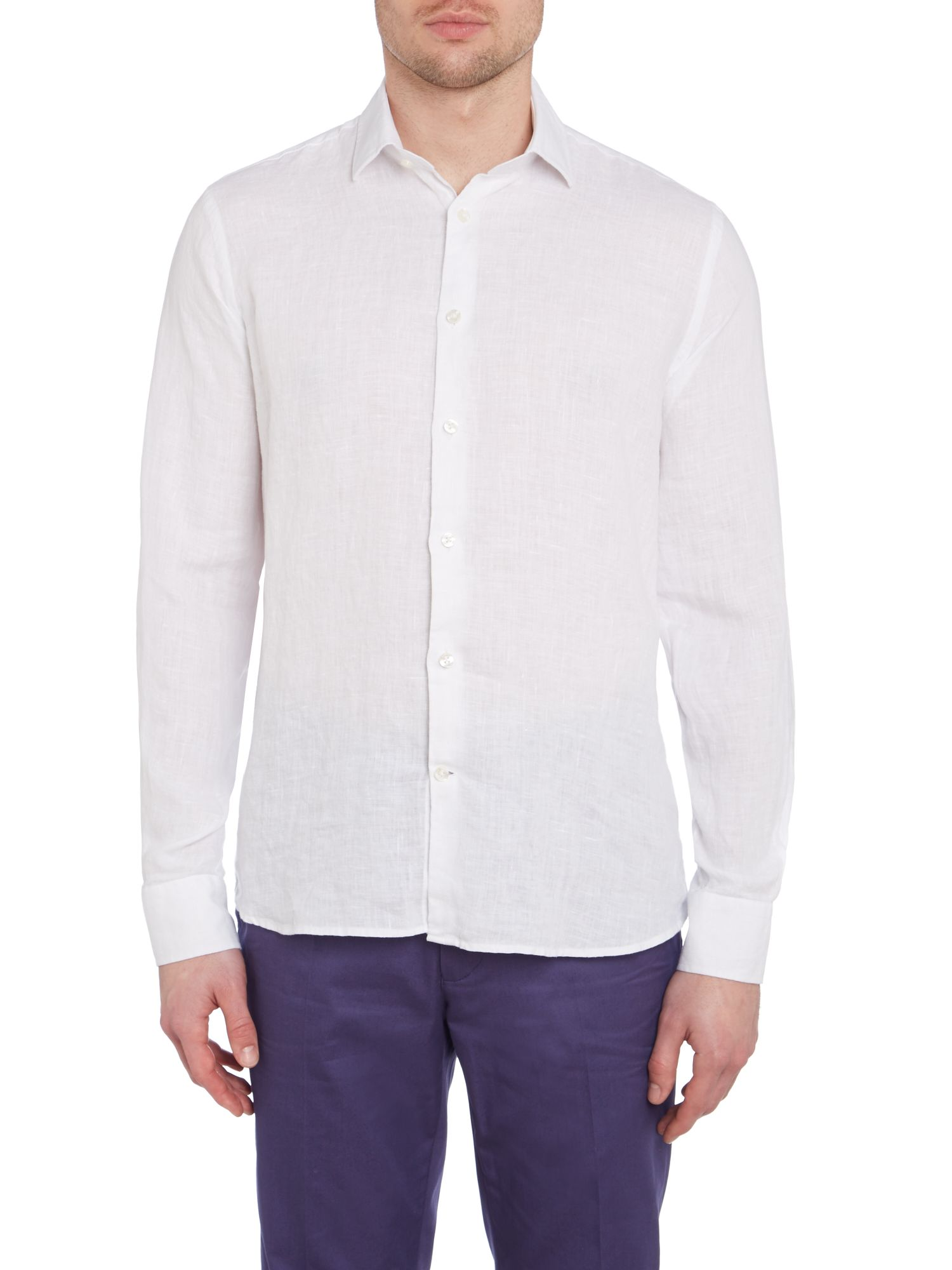 Long sleeve casual linen shirt