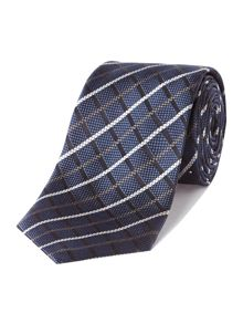 Large check silk tie