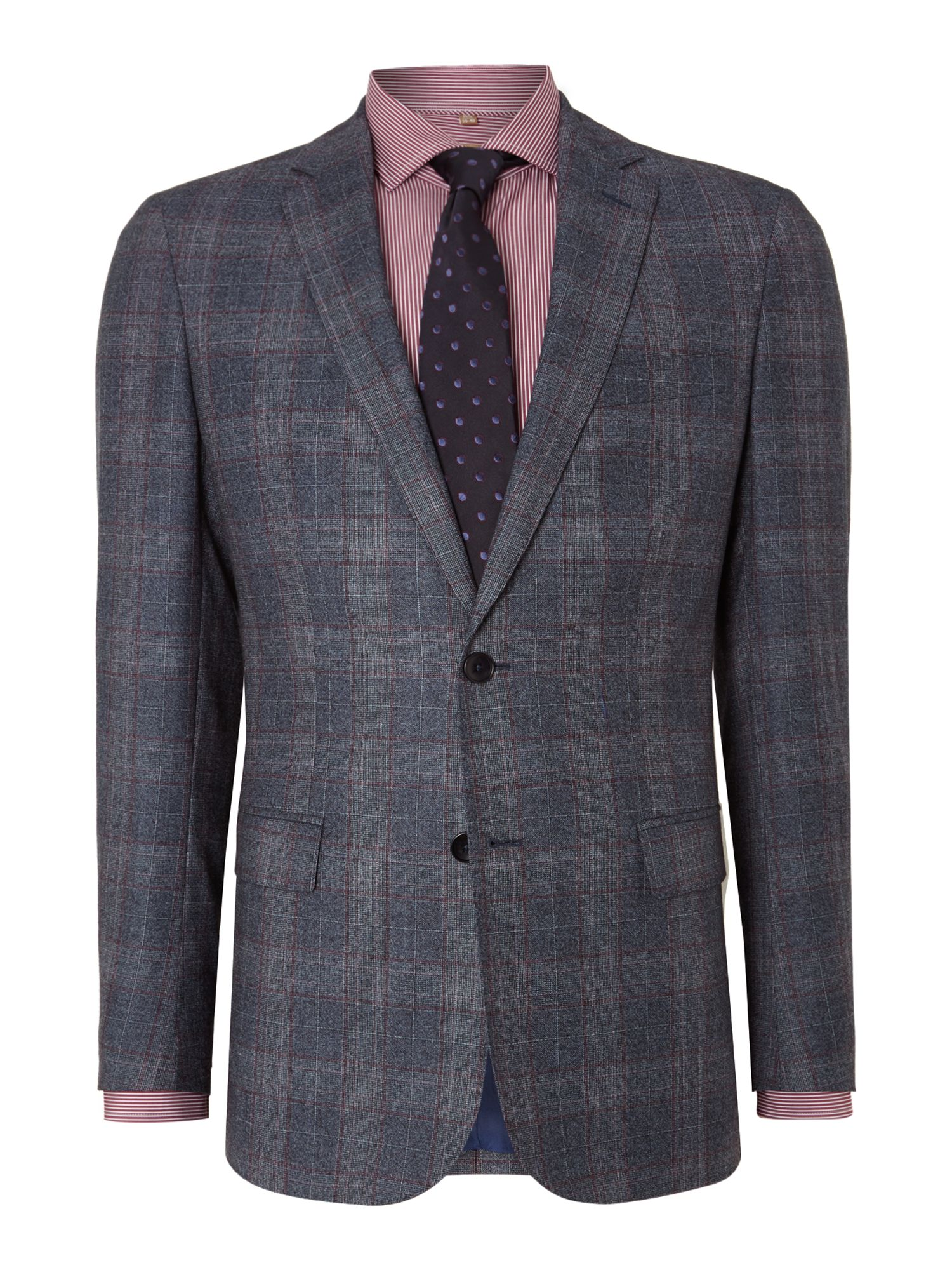 Men's Richard James Mayfair Checked contemporary suit, Navy