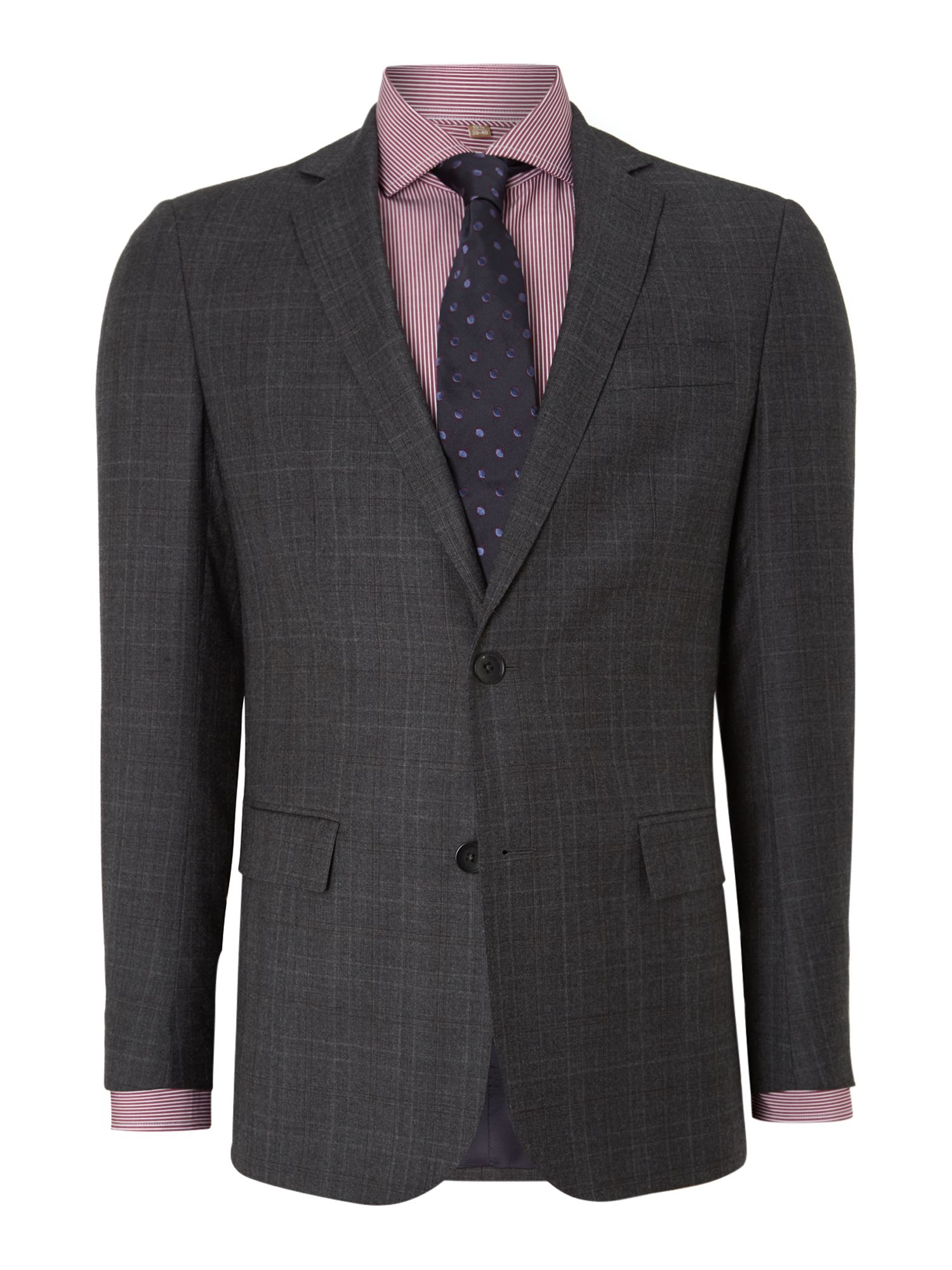 Men's Richard James Mayfair Checked contemporary suit, Charcoal