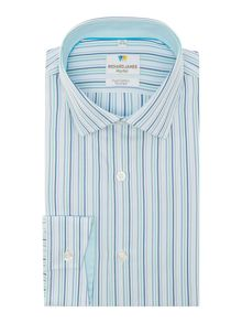 Richard James Mayfair Stripe Tailored Fit Long Sleeve Shirt