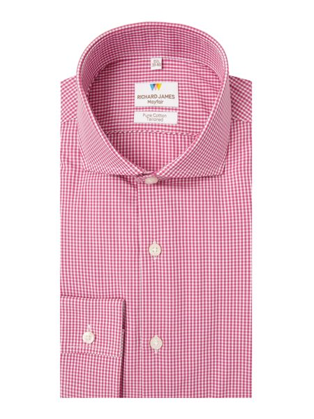 Richard James Mayfair Ls Sc Pink Gingham Shirt