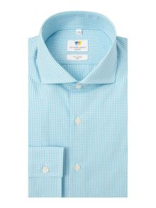 Richard James Mayfair Ls Sc Turq Gingham Shirt